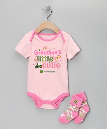 Pink 'Grandma's Little Cutie' Bodysuit & Socks - Infant