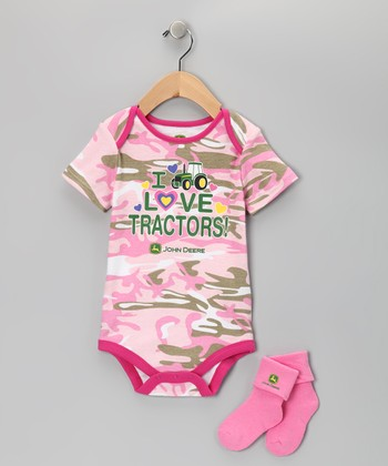 Pink Camouflage 'Tractors' Bodysuit & Socks - Infant