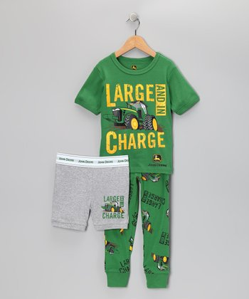 Green 'Large and in Charge' Pajama Set - Toddler & Boys
