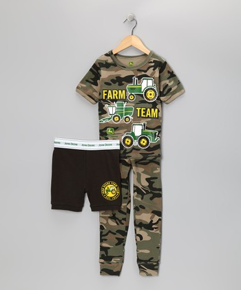 Green Camouflage 'Farm Team' Pajama Set - Toddler & Boys