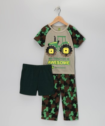 Green 'Awesome' Pajama Set - Toddler & Boys
