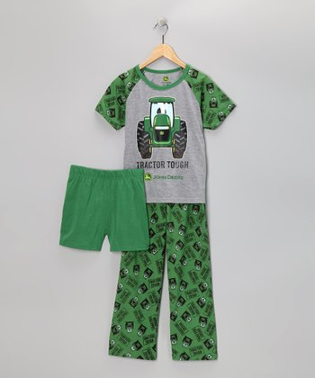 Green 'Tractor Tough' Pajama Set - Toddler & Boys