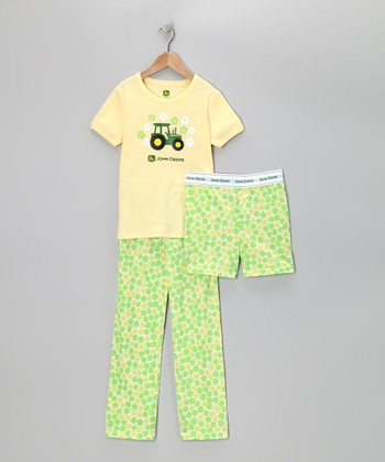 Yellow Tractor Pajama Set - Girls