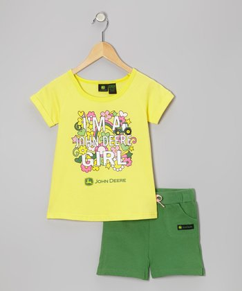 Yellow 'I'm a John Deere Girl' Tee & Shorts - Toddler