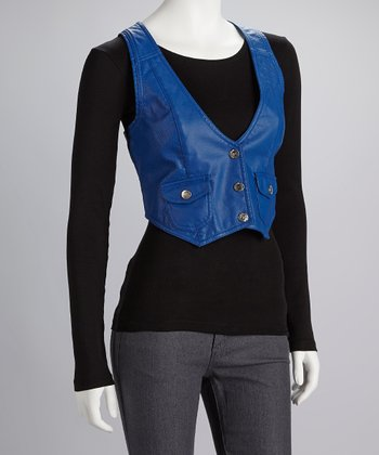 Electric Blue Perforated Vest - Women