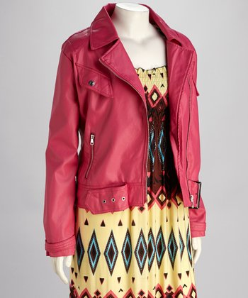 Hot Pink Plus-Size Motorcycle Jacket