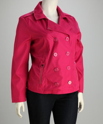 Hot Pink Peacoat - Plus