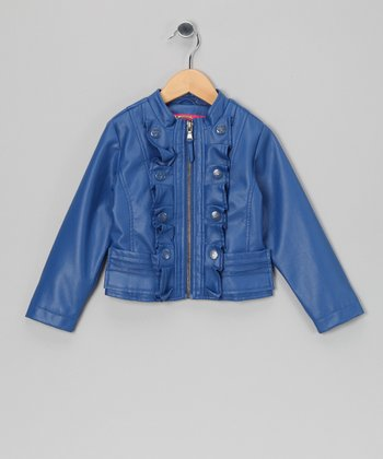 Electric Blue Ruffle Military Jacket - Toddler & Girls