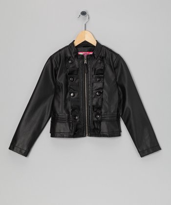 Black Ruffle Military Jacket - Girls