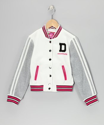 White Varsity Jacket - Toddler & Girls