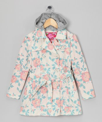 Floral Trench Coat - Toddler & Girls