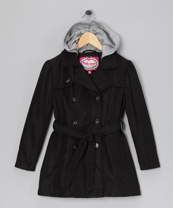 Black Trench Coat - Toddler & Girls