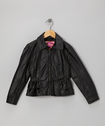 Black Ruffle Jacket - Girls