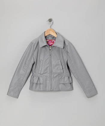 Gray Ruffle Jacket - Girls
