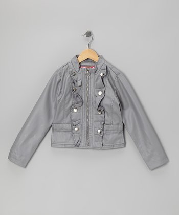 Gray Ruffle Zip-Up Military Jacket - Toddler & Girls