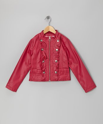 Pink Dahlia Ruffle Zip-Up Military Jacket - Toddler & Girls