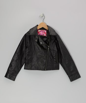 Black Zip-Up Cropped Jacket - Toddler & Girls