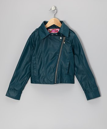 Peacock Blue Zip-Up Cropped Jacket - Toddler & Girls