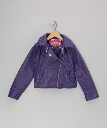 Plum Zip-Up Cropped Jacket - Toddler & Girls