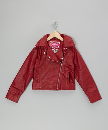 Red Zip-Up Cropped Jacket - Toddler & Girls