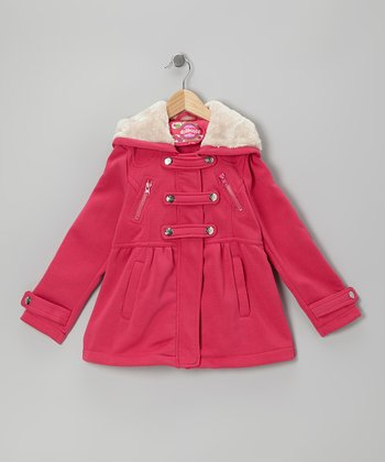 Fuchsia Snap-Front Hooded Jacket - Girls