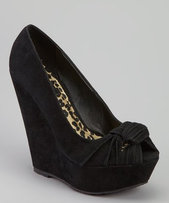 Black Envious Peep-Toe Wedge