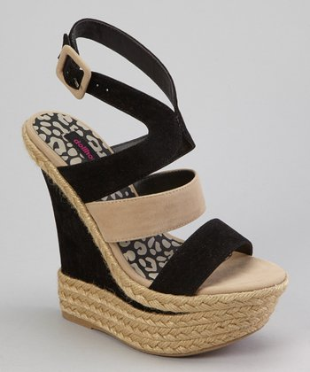 Black & Taupe Expression Wedge Sandal