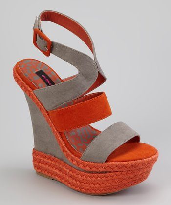 Orange & Gray Expression Wedge Sandal