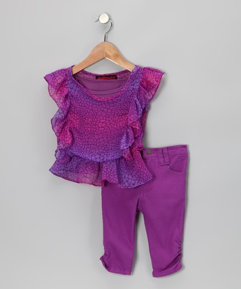 Purple Snakeskin Chiffon Top & Jeggings - Girls