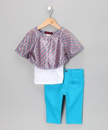 Blue Cape-Sleeve Top & Jeggings - Infant