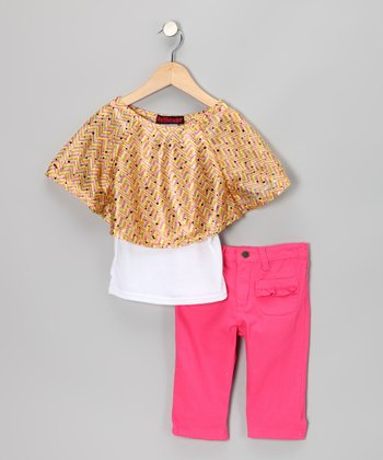 Yellow Cape-Sleeve Top & Jeggings - Infant