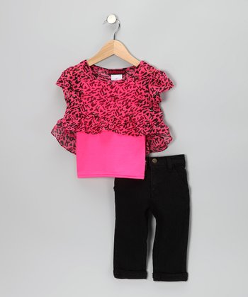 Pink Tiger Chiffon Top & Jeggings - Infant
