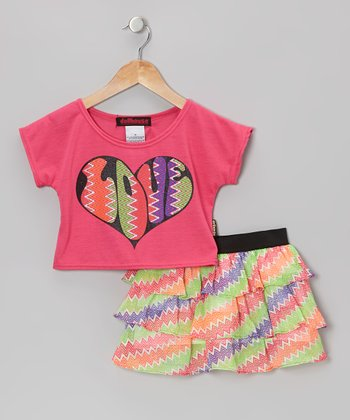Pink 'Love' Top & Ruffle Skirt - Infant, Toddler & Girls