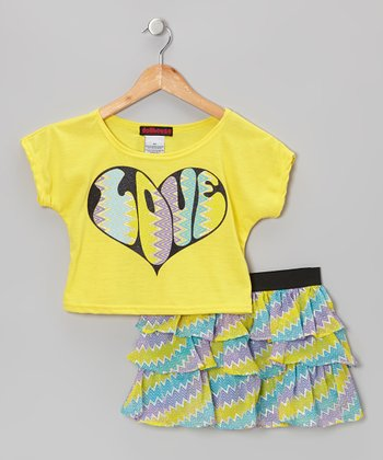 Yellow 'Love' Top & Ruffle Skirt - Infant, Toddler & Girls