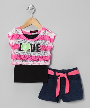 Pink & Black 'Love' Layered Top Set - Infant & Toddler