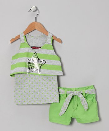 Green & Gray Star Layered Tank & Shorts - Infant, Toddler & Girls