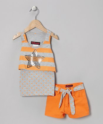 Orange Star Layered Tank & Shorts - Infant, Toddler & Girls