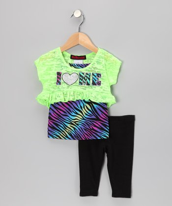Green 'I Heart Me' Layered Top & Leggings - Infant