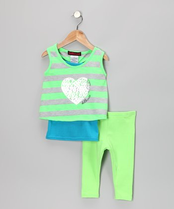 Green Heart Layered Tunic & Leggings - Infant