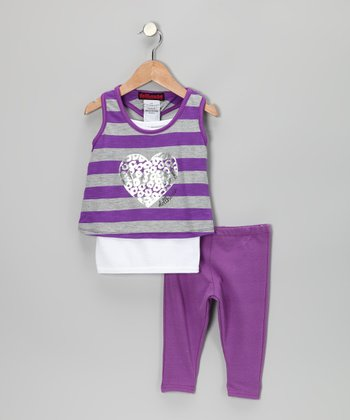 Purple Heart Layered Tunic & Leggings - Infant