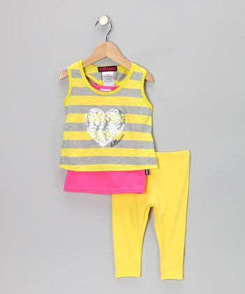 Yellow Heart Layered Tunic & Leggings - Infant