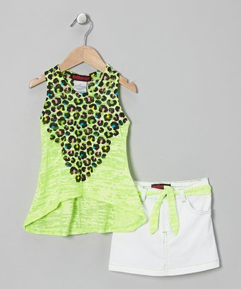 Green Leopard Tissue Tank & White Skirt - Infant