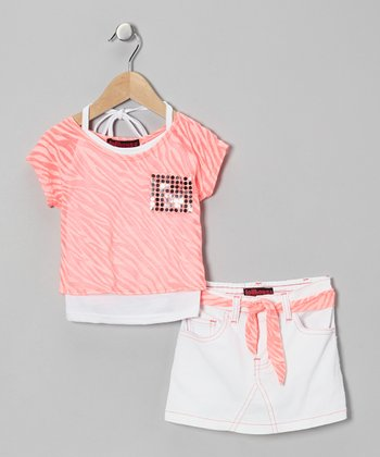 Pink Metallic Layered Top Set - Infant, Toddler & Girls