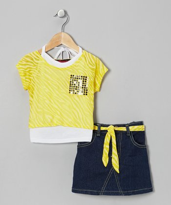 Yellow Metallic Layered Top Set - Infant, Toddler & Girls