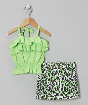Green Halter Top & Leopard Skirt - Infant & Girls