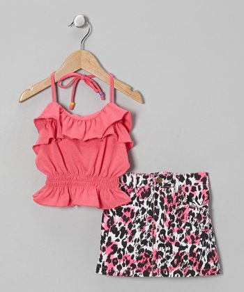 Pink Halter Top & Leopard Skirt - Infant, Toddler & Girls