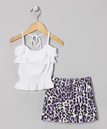 White Halter Top & Leopard Skirt - Infant, Toddler & Girls