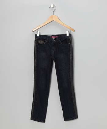 Black Wash Stripe Skinny Jeans - Girls