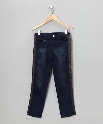 Dark Wash Stripe Skinny Jeans - Girls