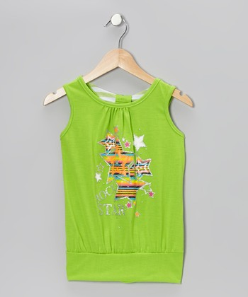 Green Star Knot Tank - Girls